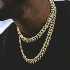 Diamond Cuban Link Chain 18K Gold 10mm